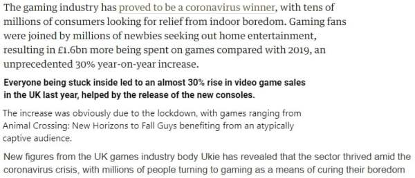 games industry lockdown quotes