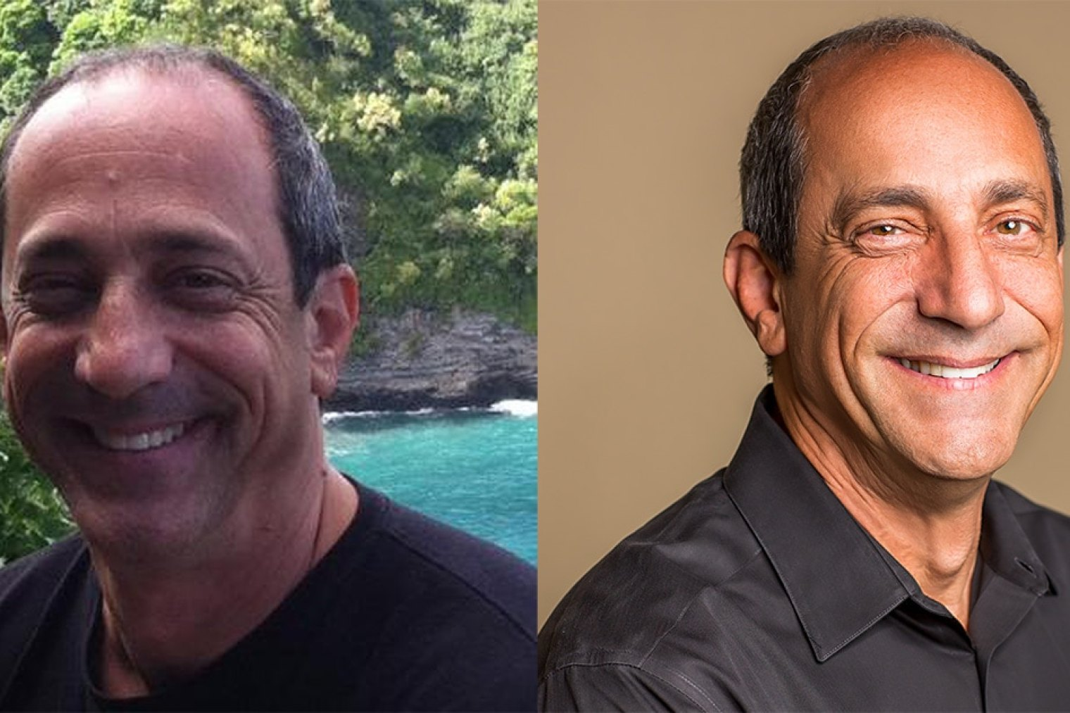 Rob Goldberg's headshot before and after