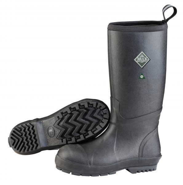 Men's chore resistant tall steel toe boots