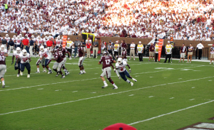 Jaguar Pat Moore closes in on Mississippi State quarterback Tyler Russell in the first quarter of the Jaguars 30-10 loss to the Bulldogs on September 22, 2012.