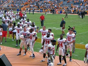 South Alabama Players thanking the fans for their support on the road in Knoxville, TN.