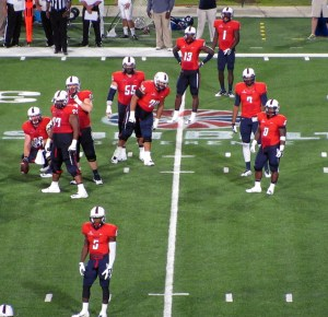 The offense looks to the sideline for the play call against Georgia Southern on Saturday, September 20, 2014. GSU won their first Sun Belt Conference game 28-6.