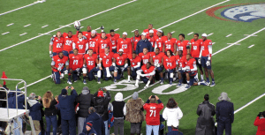 The Senior class posing together at mid field prior to defeating Louisiana-Lafayette 30-8 to get bowl eligible.