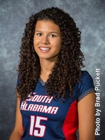 Freshman Mechell Daniel was named Sun Belt Freshman of the Week for the fourth time this season. This is the sixth consecutive week a Jaguar has earned the honor. She also made Sun Belt History by being the first honoree to earn Freshman of the Week and Offensive Player of the Week honors in the same week. Photo by Brad Puckett | usajaguars.com