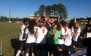 The South Alabama soccer team celebrates their second-consecutive SBC Tournament championship after defeating Troy 1-0. | Photo: usajaguars.com