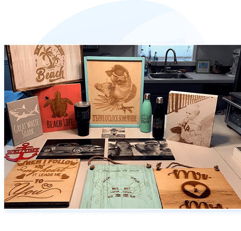 sample products made using a laser etch machine