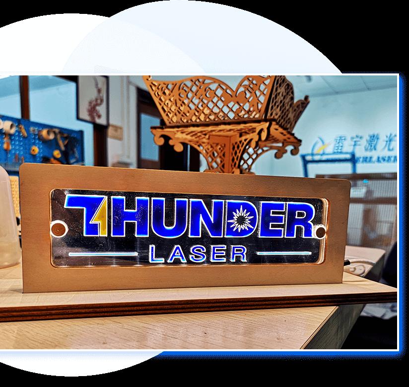 Thunder Laser wood engraved logo