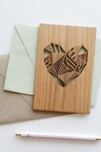 personalized laser designs - heart engraved on wood
