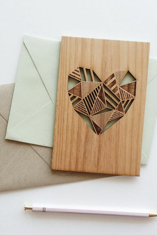heart engraved card using a wood laser engraving machine