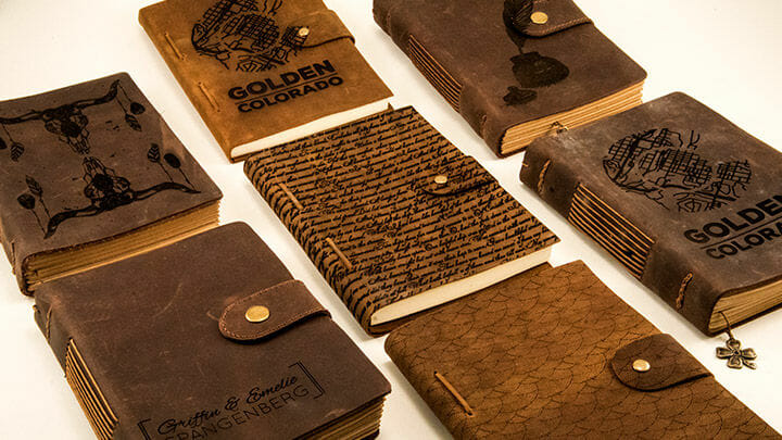 laser engraving leather journal covers