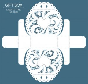 Openwork laser cut gift box with a lace ornament