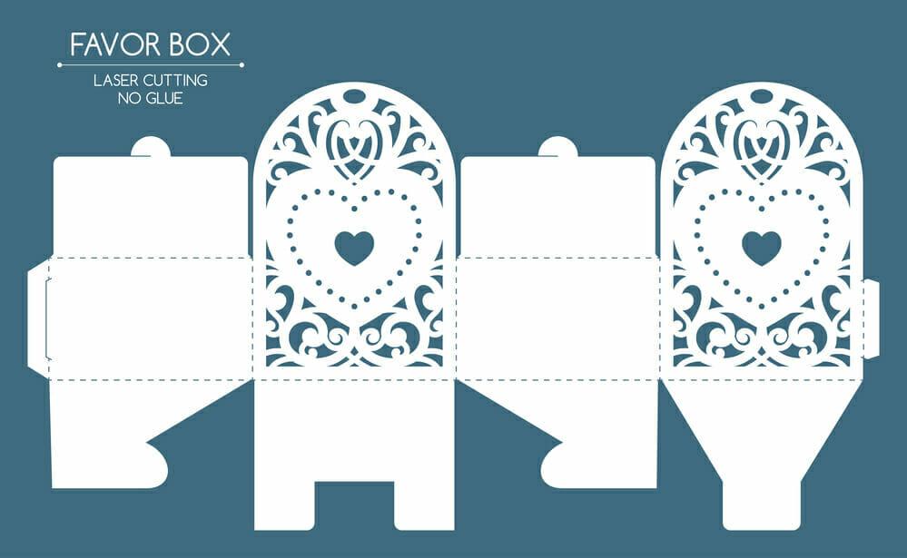 laser cut packaging design for favor boxes