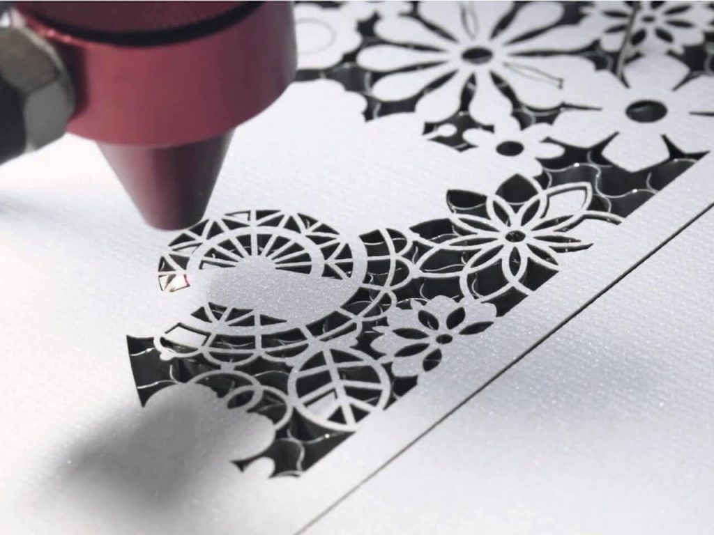 close up view of laser cutting paper sample