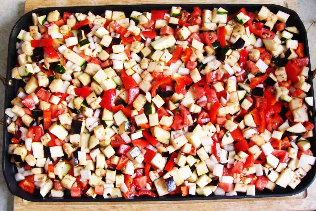 ratatouille pizza, vegetables ready for roasting
