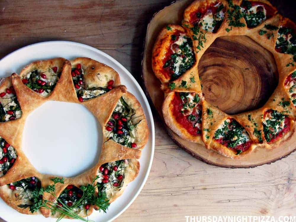 Holiday Pizza Wreaths