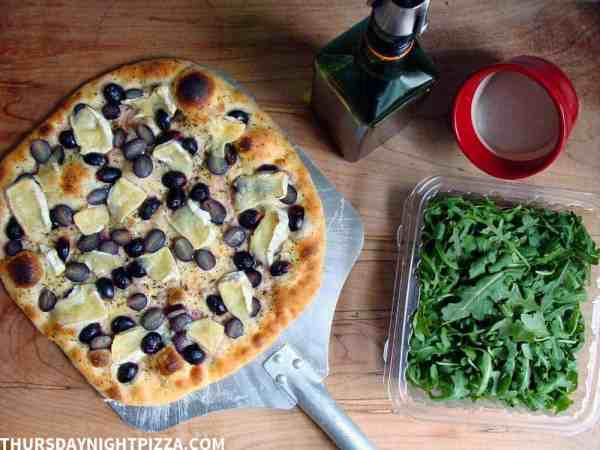 Grape and Camembert Pizza with Arugula
