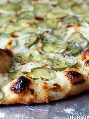 Ranch and Dill Pickle Pizza, close-up