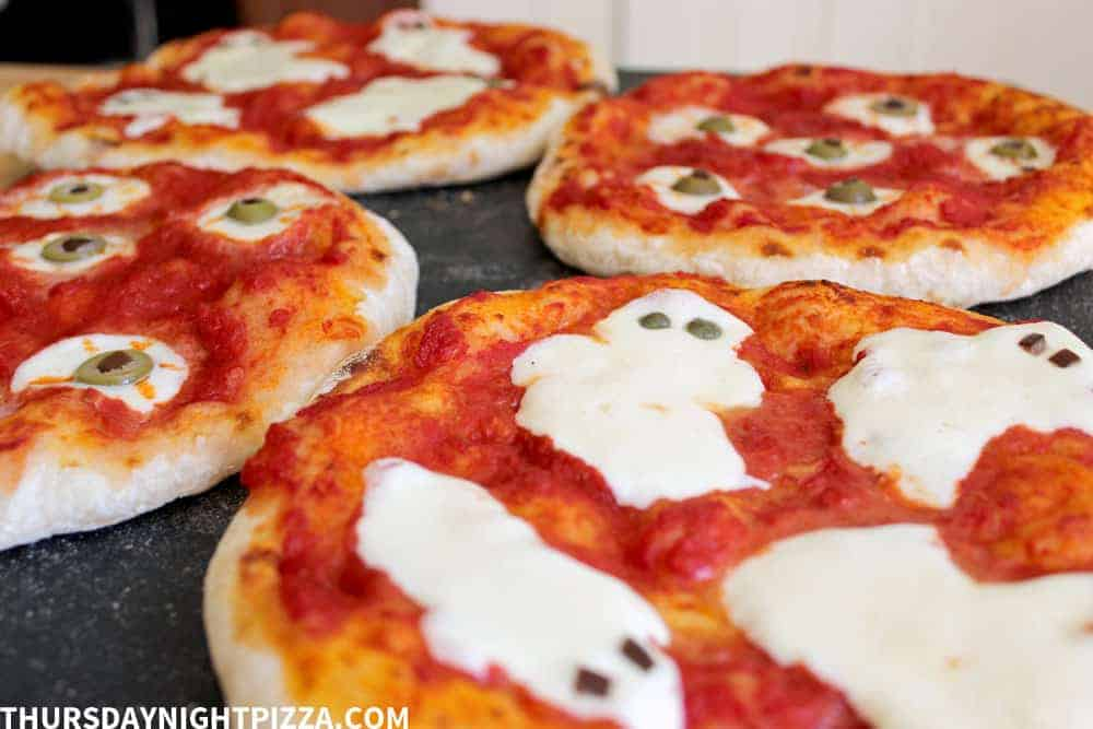 Halloween Pizzas out of the oven
