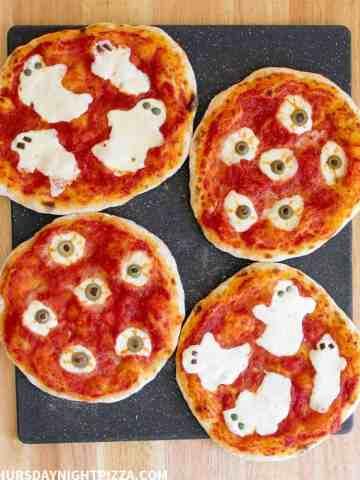 Ghost and Eyeball Halloween Pizzas, overhead