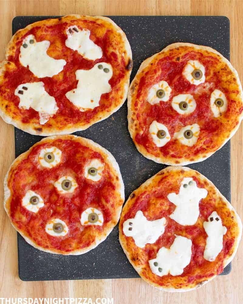 Ghost and Eyeball Halloween Pizzas, overhead