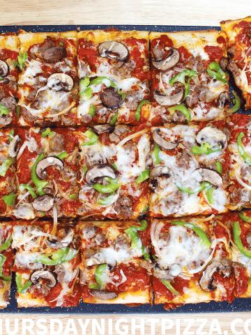 Grandma Pizza with Sausage, Pepper, Onion, and Mozzarella