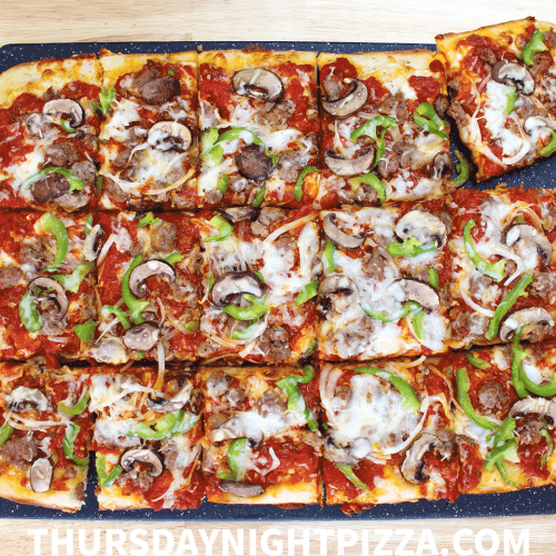 The Ultimate Grandma Pizza with Sausage, Pepper, Onion, and Mushrooms