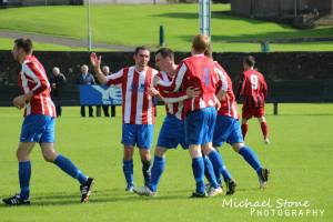 Colin Sinclair celebrating his penalty goal v Halkirk United