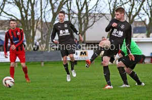 Marc McGregor scores the winning goal in the Football Times cup semi final - 12.4.14