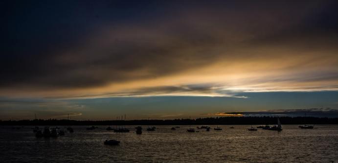 Boston Harbor Fireworks sunset