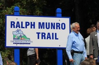 Ralph Munro Trail Dedication sign