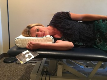This is an example of a good pillow providing proper support. Photo courtesy: Penrose Physical Therapy