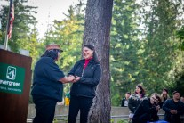 Welcome Woman Carving Unveiling The Evergreen State College-13