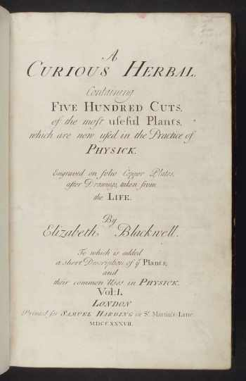 Elizabeth Blackwell Botanical Illustrator A Curious Herbal