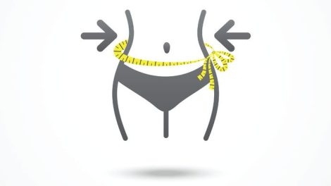 weight loss icon slim lady with measuring tape