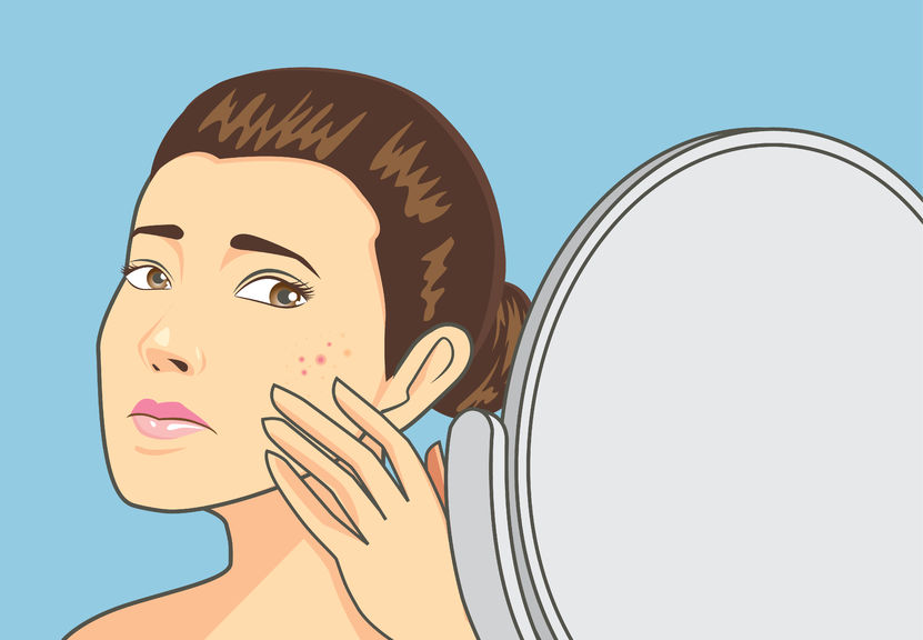 women strain at back cosmetic mirror with problem acne face. skin care concept