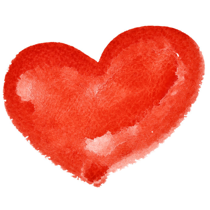 Red watercolor heart isolated on the white background - raster illustration