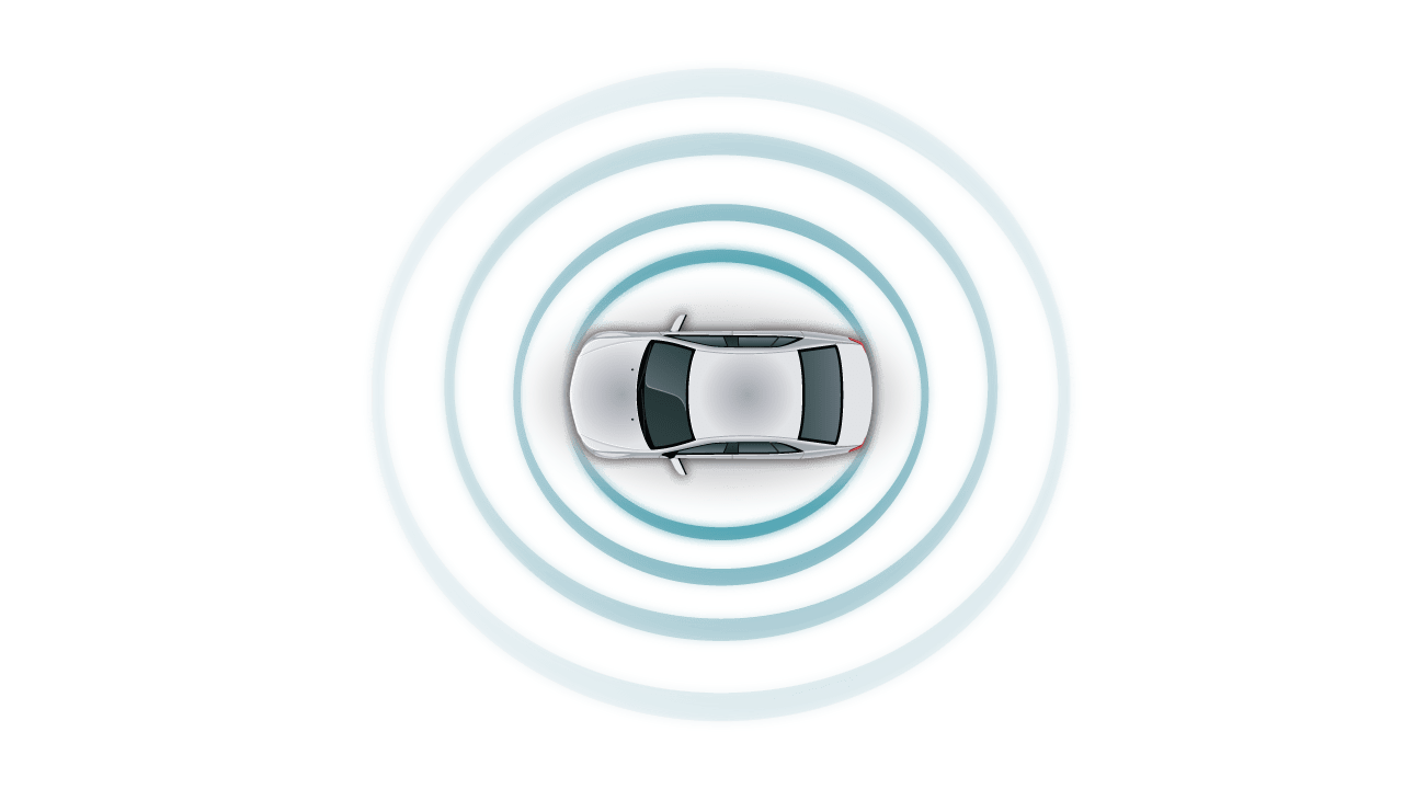 hight resolution of automotive white car top view teal sensor fusion circle