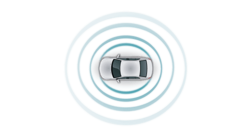small resolution of automotive white car top view teal sensor fusion circle