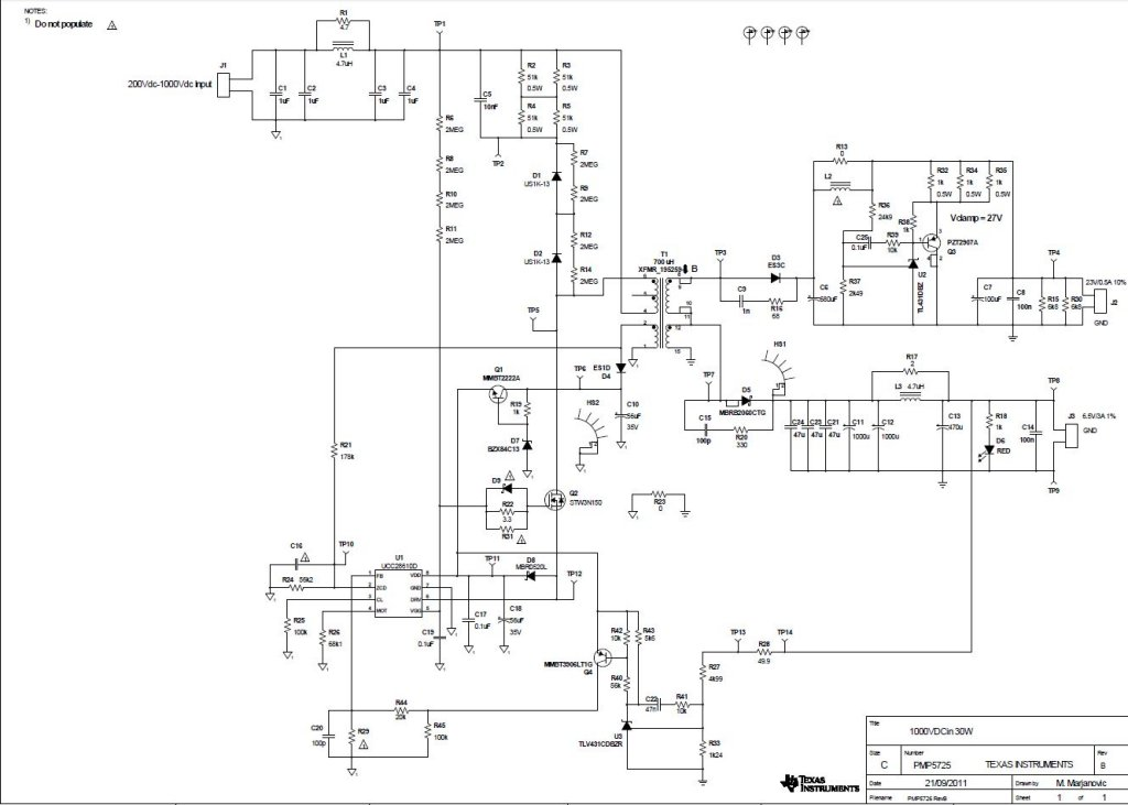 PMP5725 High voltage Flyback with two outputs: 25V @ 0.5A