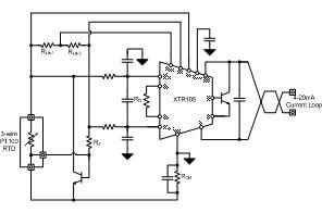 TIPD161 アナログ・リニアライズ 3 線 PT100 RTD から 2線 4-20mA 電流ループ