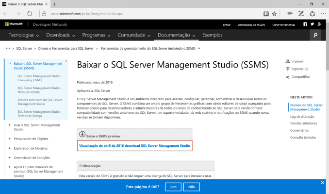 Instalando o SQL Server 2016 e o Management Studio | Tiago