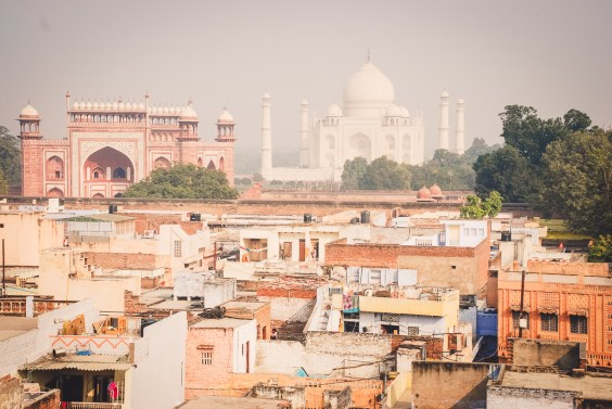 Agra panorama with the Taj Mahal at the orizon