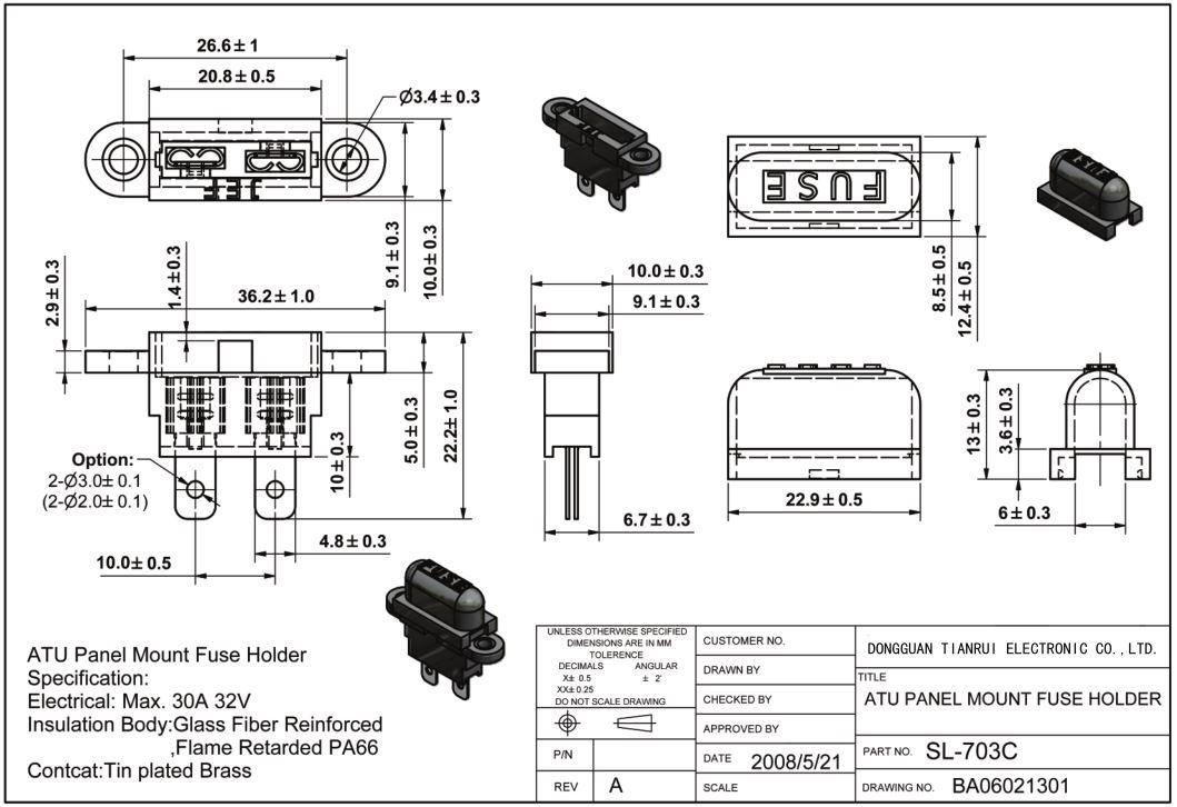 China Customized AT0 ATC PCB Type Auto Blade Fuse Holder