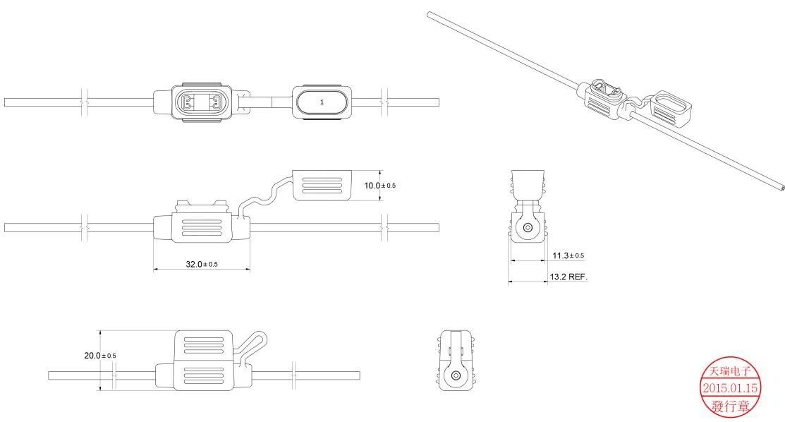China Customized ATT-IN-01 Low Profile Waterproof Inline