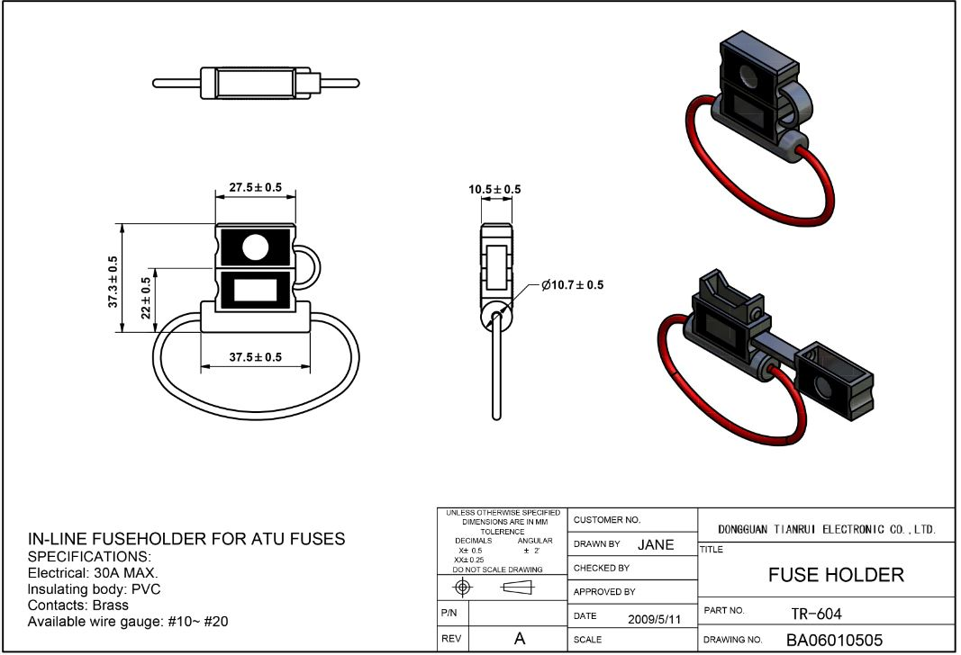 China Customized TR-604 Regular Inline Fuse Holder With