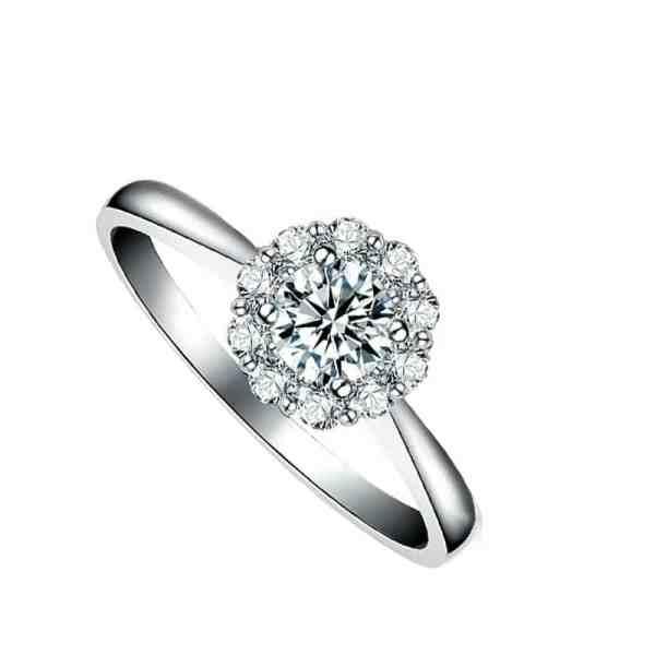 Carnation Ring Perhiasan cincin emas dan berian White Gold 18K Diamonds