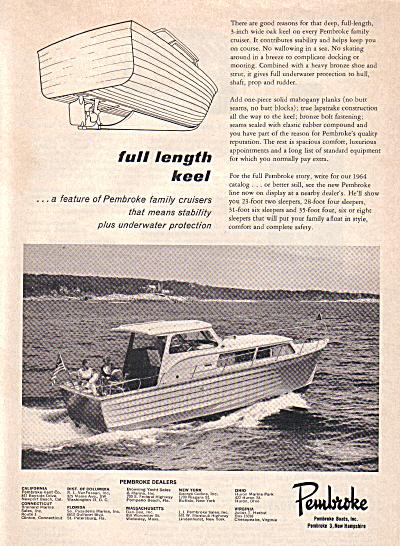 1963 Pembroke Cabin Cruiser Boat AD Boats Cabin