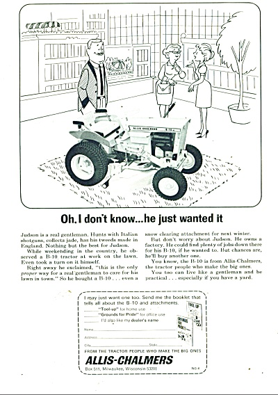 Allis-Chalmers lawn tractor ad 1965 (Allis Chalmers) at