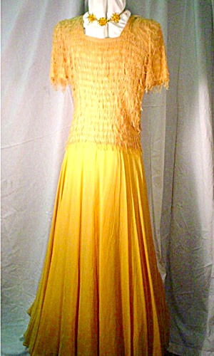1940s Mustard Colored Evening DressGown Fab Party and Formal Wear at A Vintage Shop