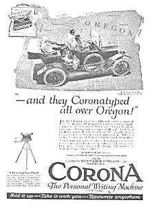 1920 CORONA TYPEWRITER in Open Car Mag. Ad! (Vintage